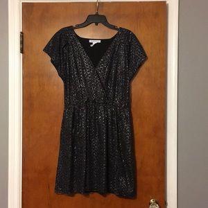 BCBG black and silver mini dress w/ keyhole back